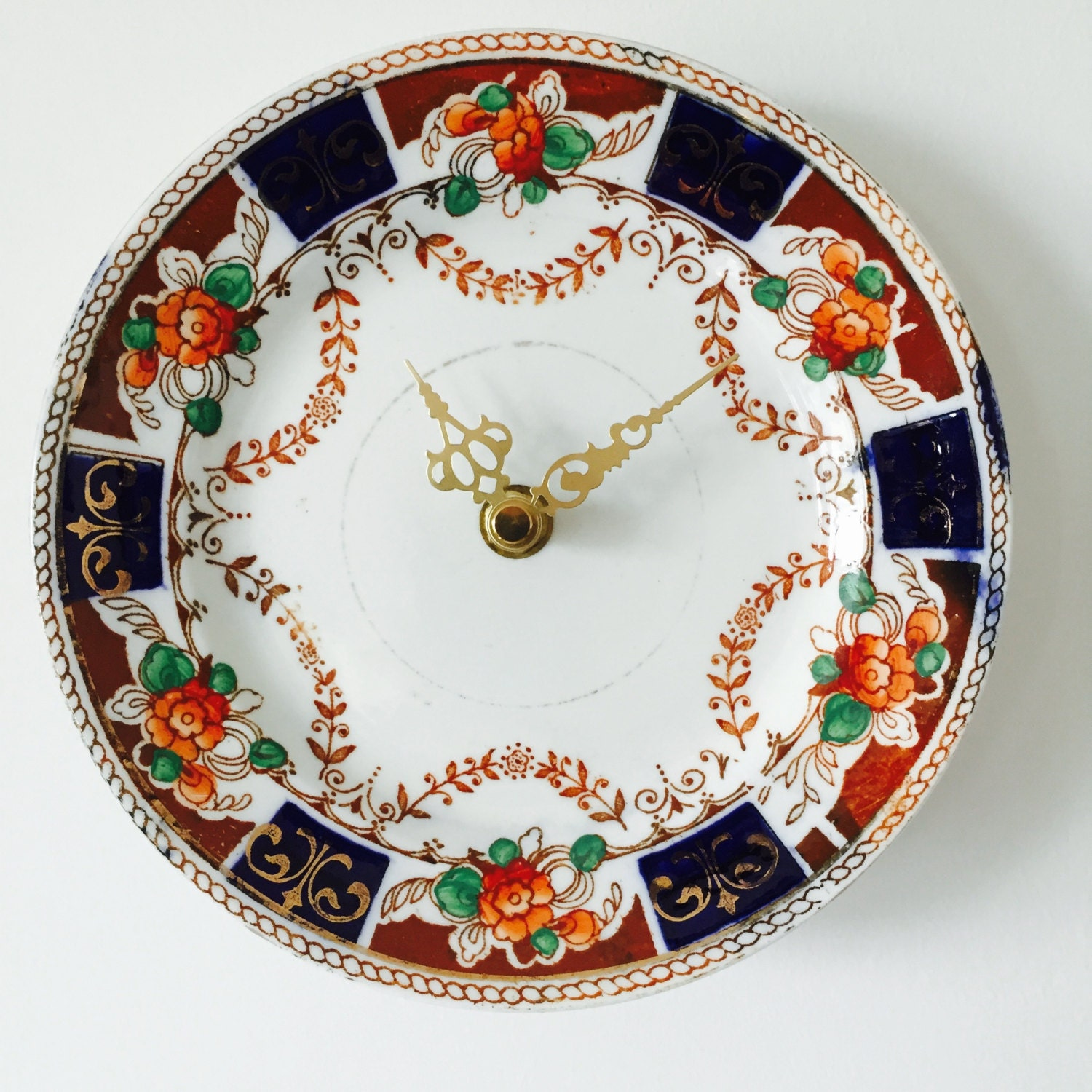 Image of Brown Orange flowers Navy Blue Gold Royal Albion Tea Party China Plate Wall Clock Wedding Anniversary Vintage Home Gift for Couple