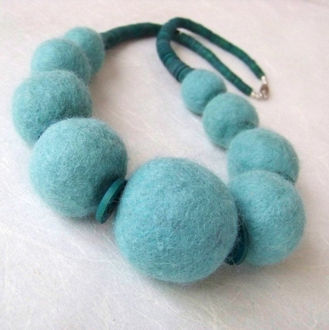 Necklace - Felt Bead and Wood in Seafoam Green