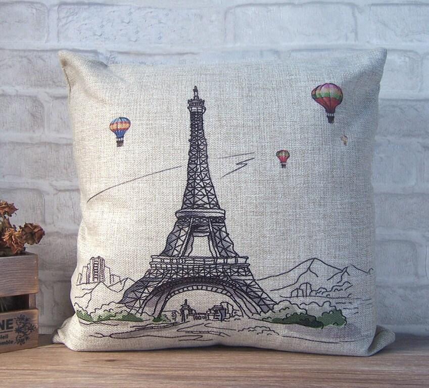 Decorative Pillows Eiffel Tower : SALE Paris Eiffel tower throw pillow decorative linen by Ideccor