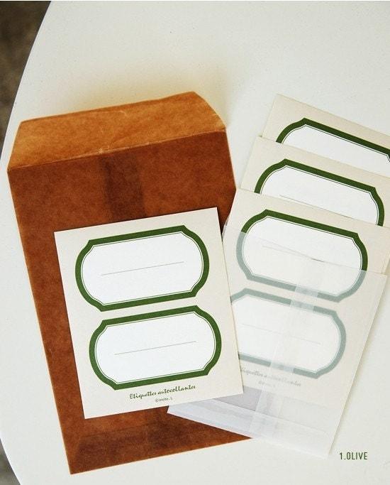 Label sticker - 01 olive ( 4sheets)