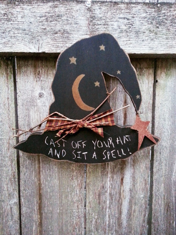 Items Similar To Halloween Decoration Wood Plaque Witch