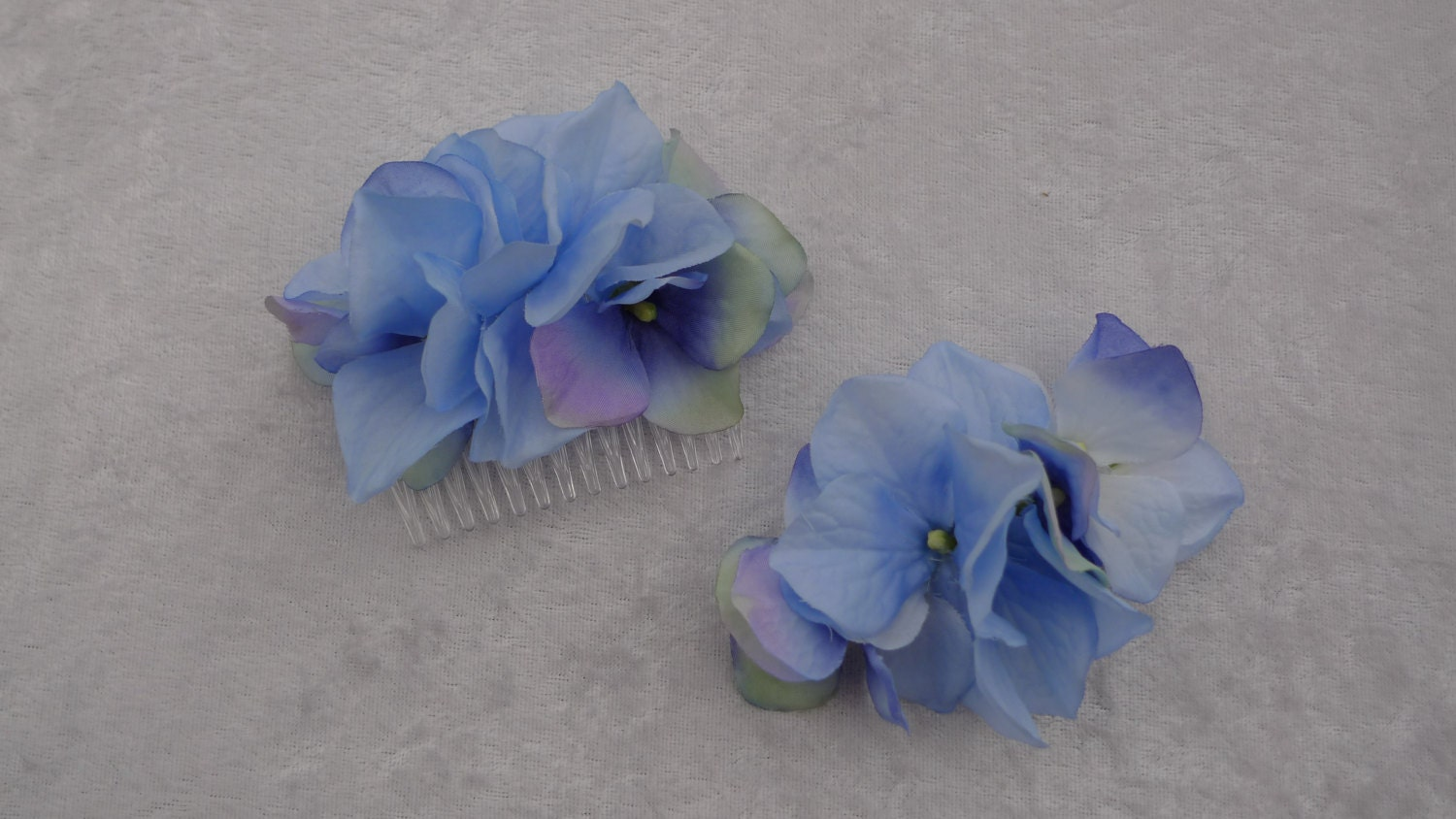 One Blue hydrangea fabric flower hair comb also available in purple