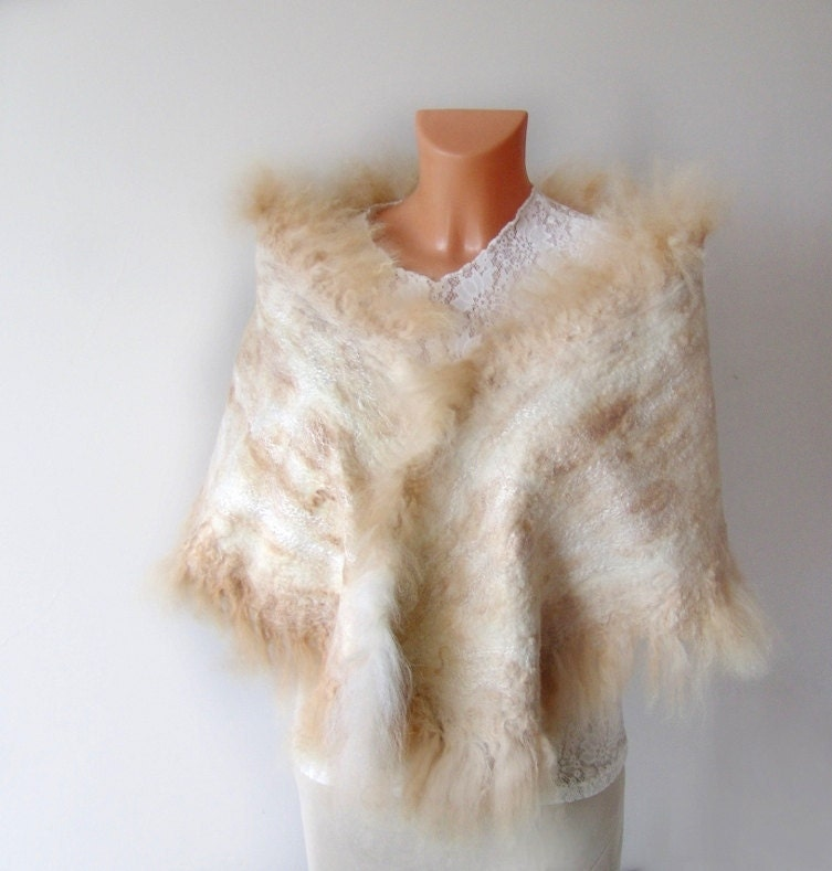 Felted scarf wrap Wedding Fur  White beige by galafilc on Etsy from etsy.com