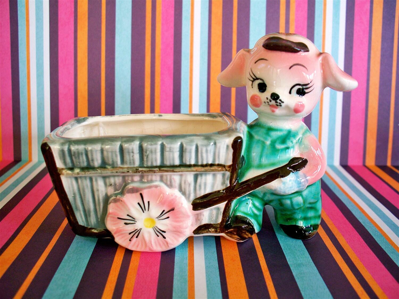 Sweet  Vintage Kitsch Pink Puppy with Flower Card Planter