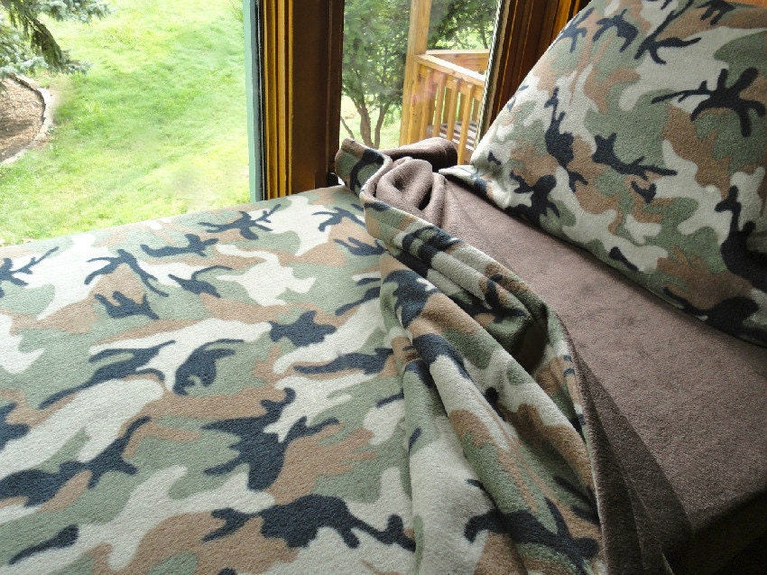 Children's Bedding Set for Boys & Girls  'Dark Chocolate Camoflauge' Handmade Fleece Sheets Fits Crib and Toddler Beds and Toddler Beds