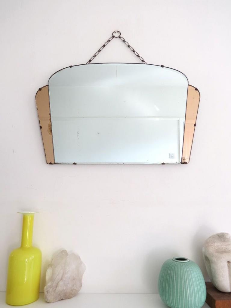 Vintage Art Deco Fan Shape Wall Mirror with Colored Glass