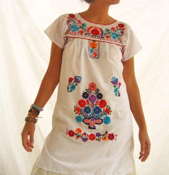 Beautiful handmade Mexican embroidered tunic mini dress size S M WHITE PEACE