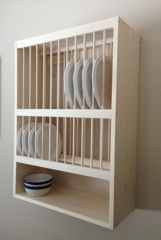 Wall Mounted Plate Rack With Shelf