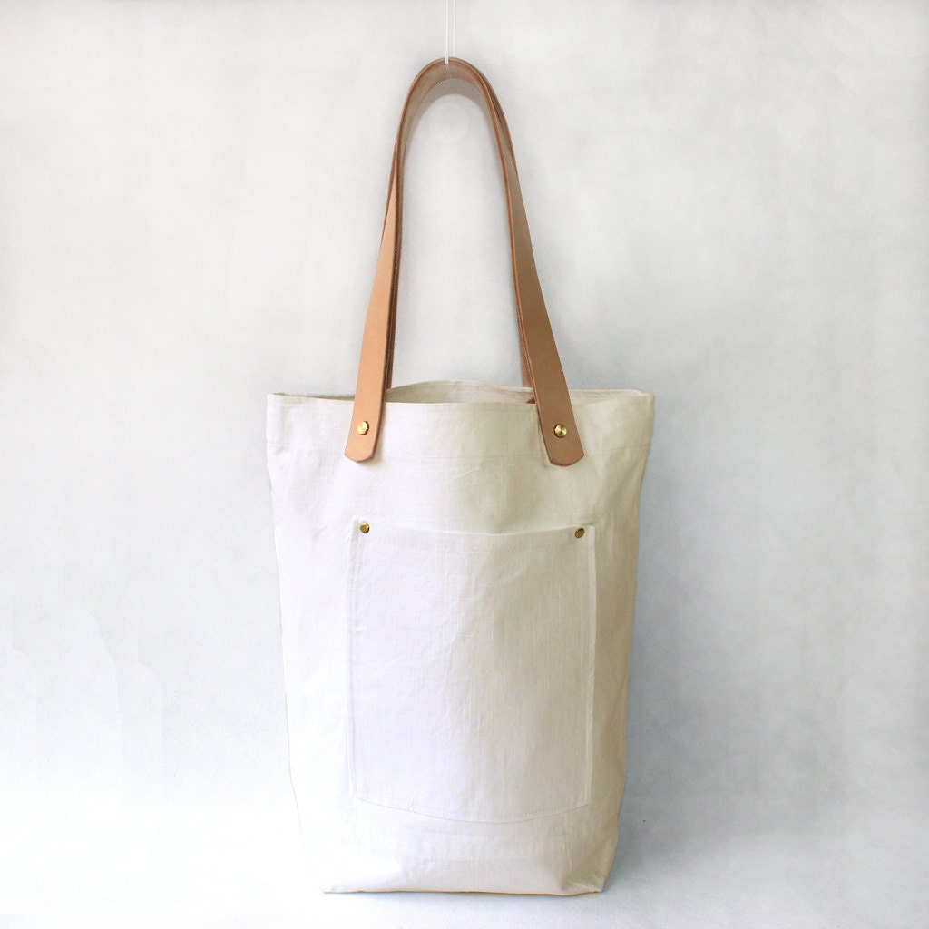 Creamy white Organic Linen Cotton Tote with Natural Leather Handle-Buy one,get a gift for free - JacquelineStudio