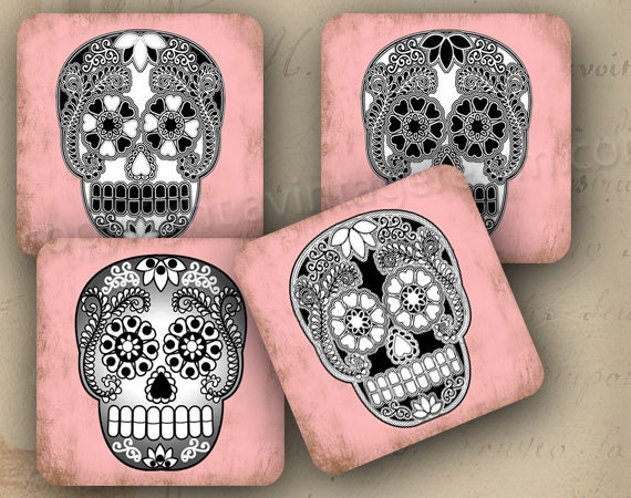 Items similar to day of the dead coasters decoration 4x4 for Decoration 4x4