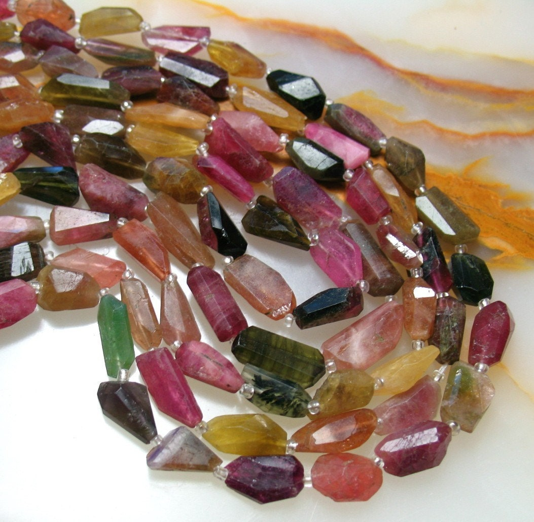 Lots Of Pink Tourmaline Rainbow Elongated BARREL Nugget Beads 14 1/2 Inches