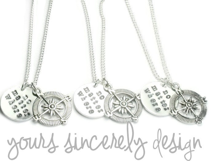 Three No Matter Where Compass Distance Necklaces Mother Daughter Jewelry Friendship Sisters Personalised Initial