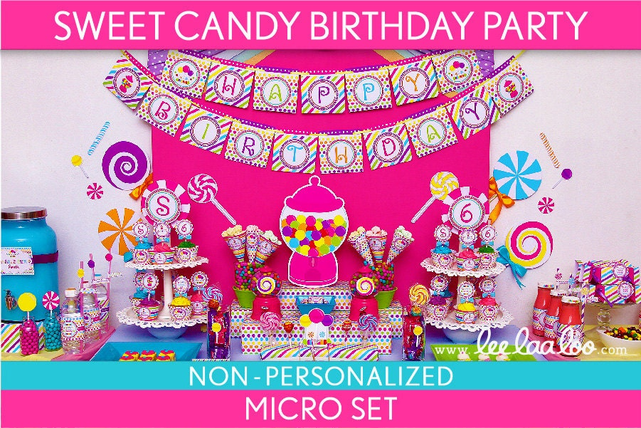 Sweet Candy Birthday Party Package Collection Set Micro NonPersonalized Printable // Sweet Candy - B88Nz1