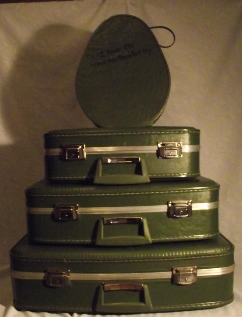 Lovely Hand  Painted Pea Green Vintage Luggage Set