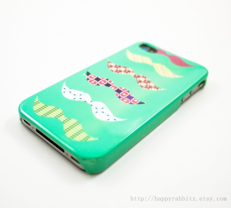 Mint Colorful Mustaches iPhone 4 Case iPhone 4s by