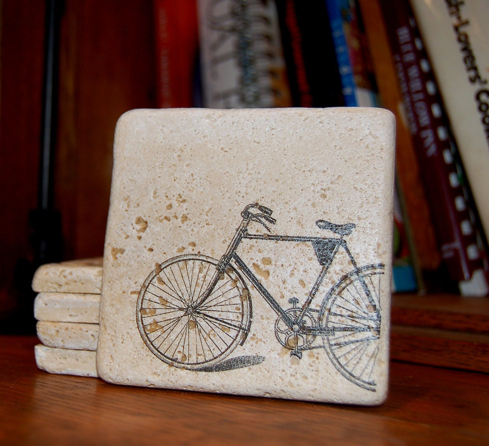 Items Similar To Drink Coaster Set Of Four Vintage Bicycle
