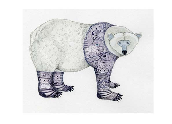 Print Polar Bear in Purple Knitwear Bear Giclee print 11.7x16.5 - ChasingtheCrayon