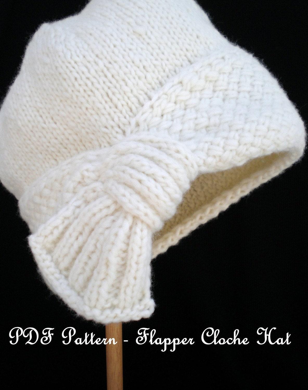 PDF Knit Hat Pattern Flapper Cloche Hat by OhmayDIY on Etsy