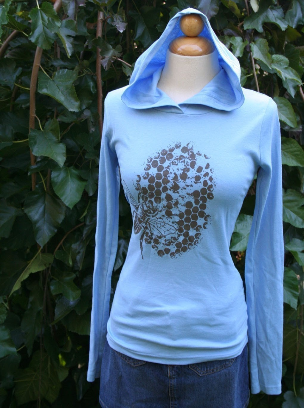 Blue Honey Bee Hoody by circularaccessories on Etsy from etsy.com