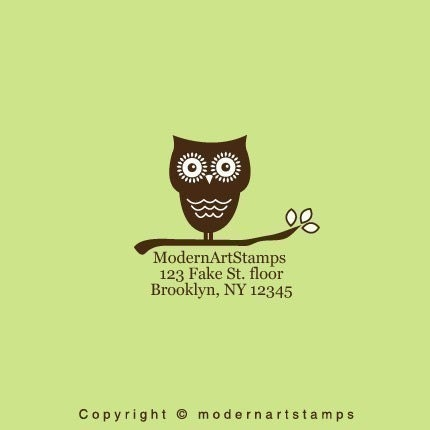 Custom Owl in Branch Address Rubber Stamp - C217