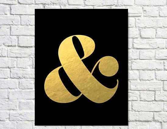 Typography Print, Quote Print, Ampersand, Gold Pink, Modern Decor, Office Decor, Wall Decor - Black& (8x8) - paperchat