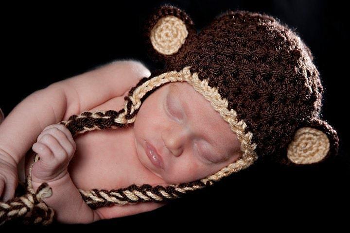 Chocolate Brown вязания крючком Обезьяна уха заслонки шапочка со сливками Trim - нестандартный размер и цвет