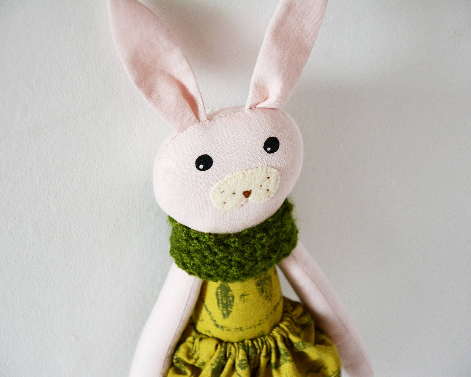 Soft toy stuffed animal heirloom doll cloth doll pink doll gift for toddler Easter gift gift for kids gift fot baby.