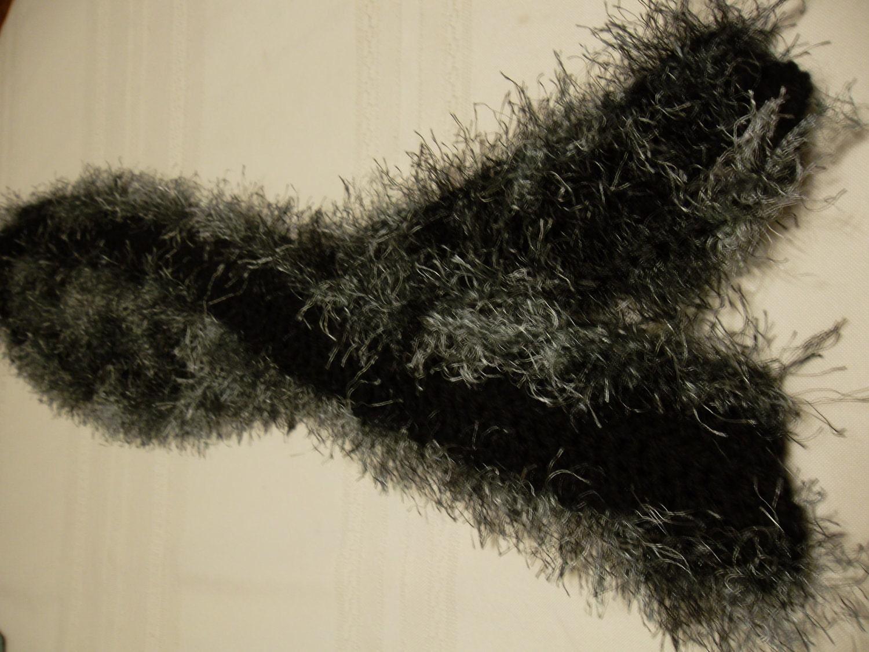 Elegant Black Scarf wih Eyelash trim