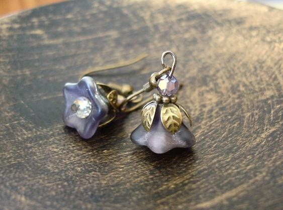 Metallic Purple Czech Flower Bead Earrings