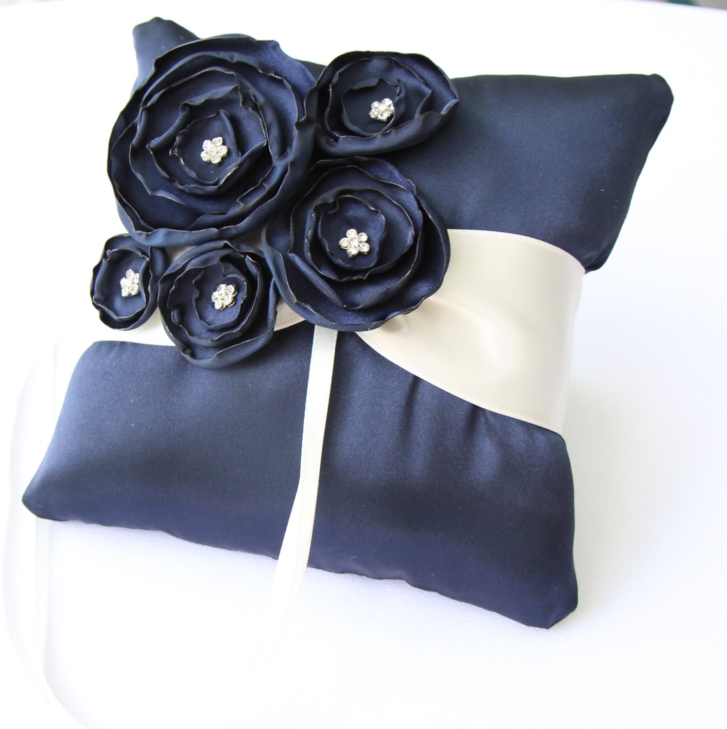 Wedding Navy Blue And Ivory Satin Ring Bearer Pillow More Colors Available