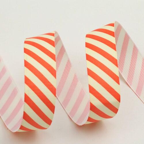 Marshmallow Orange Stripe Fabric ribbon - 22mm