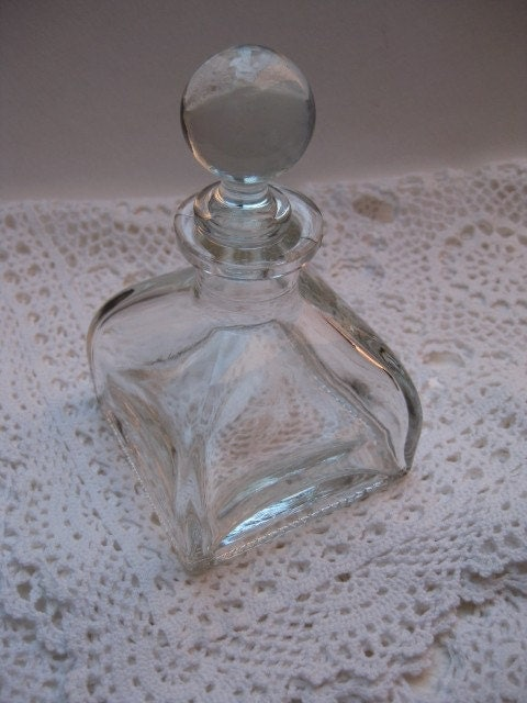 Vintage Bottle Clear Glass Square Base Love By