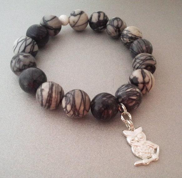 Jasper bracelet with 925 silver owl shaped pendant - MKedraDecoupage
