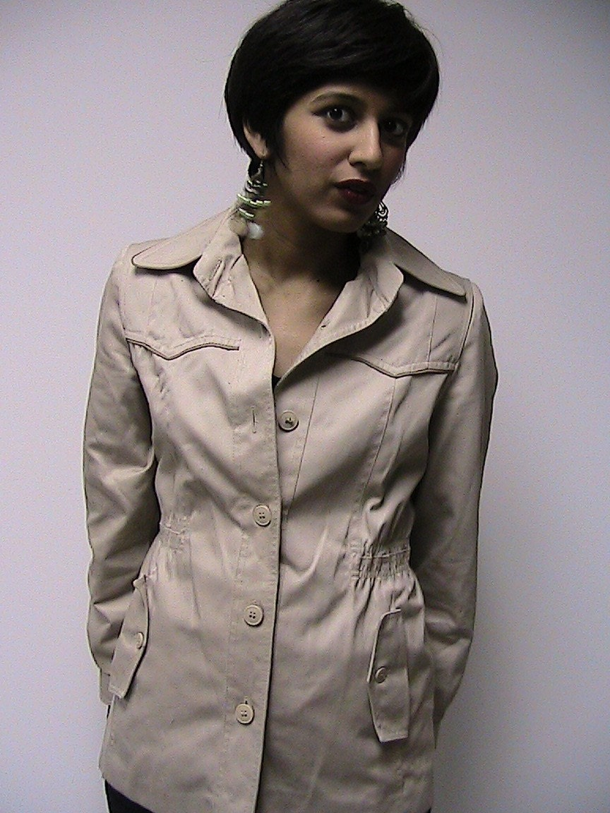 Vintage Khaki Tapered-Waist Jacket