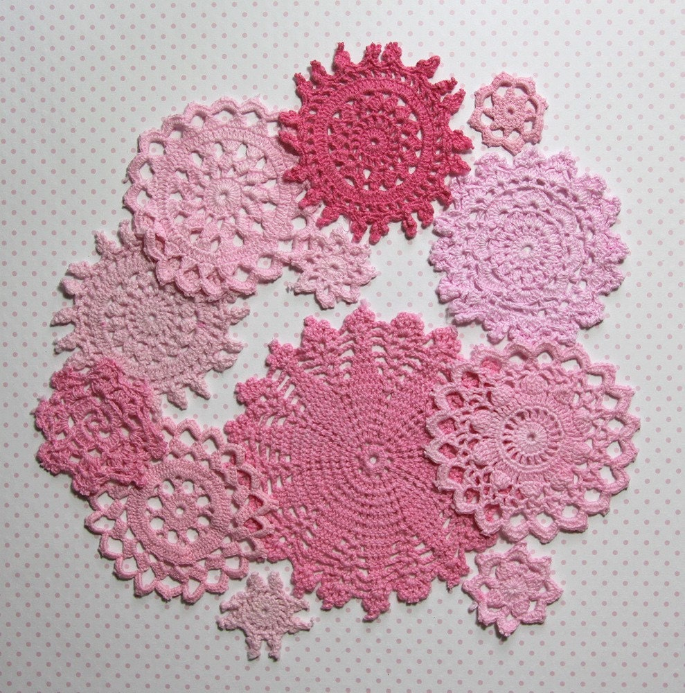 Hand dyed vintage crochet doilies. Pink collection.