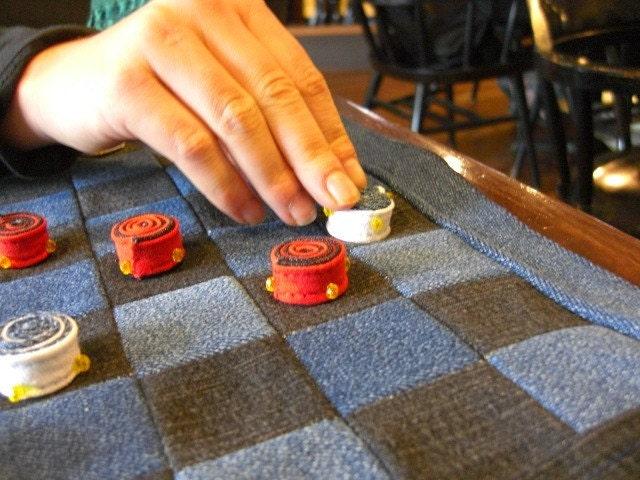 Checkers board handmade cloth