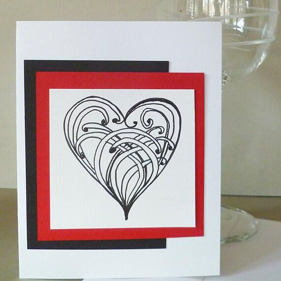 Valentine Card with Original  Zentangle  Hand Drawn  Heart design