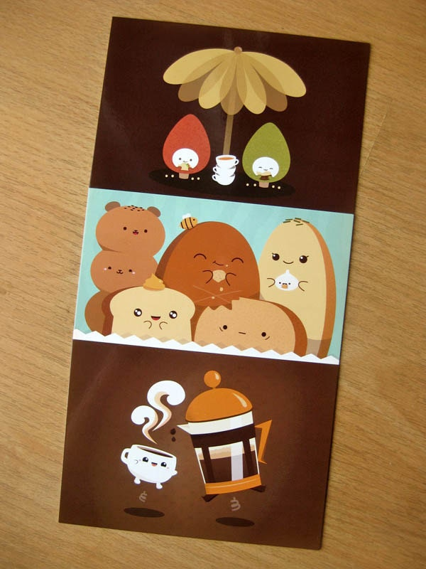 Cute Tea and Coffee Postcards (Set of 3)