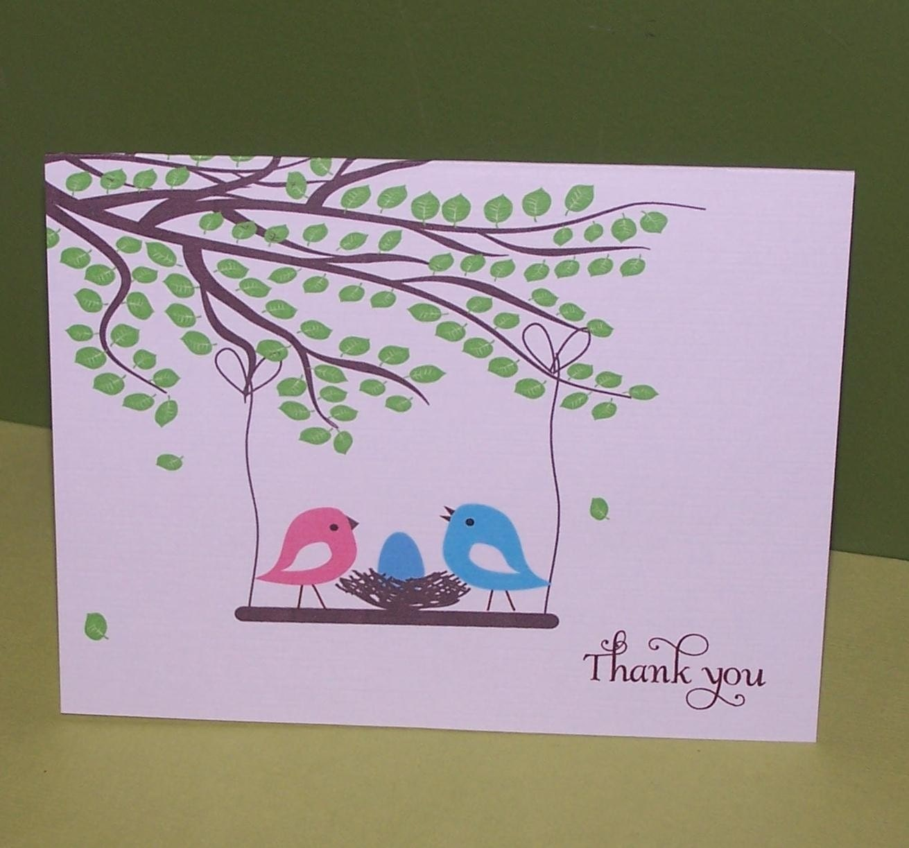 baby thank you cards baby shower birds by simplystampedinvites