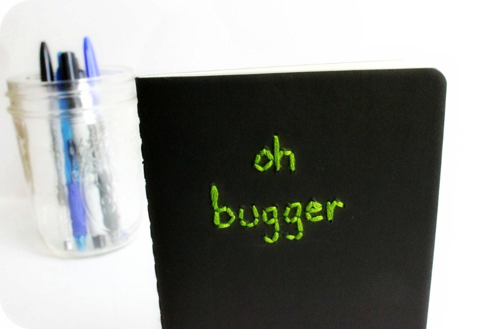 Oh bugger pocket Moleskine notebook black green embroidered handmade - KnotworkShop
