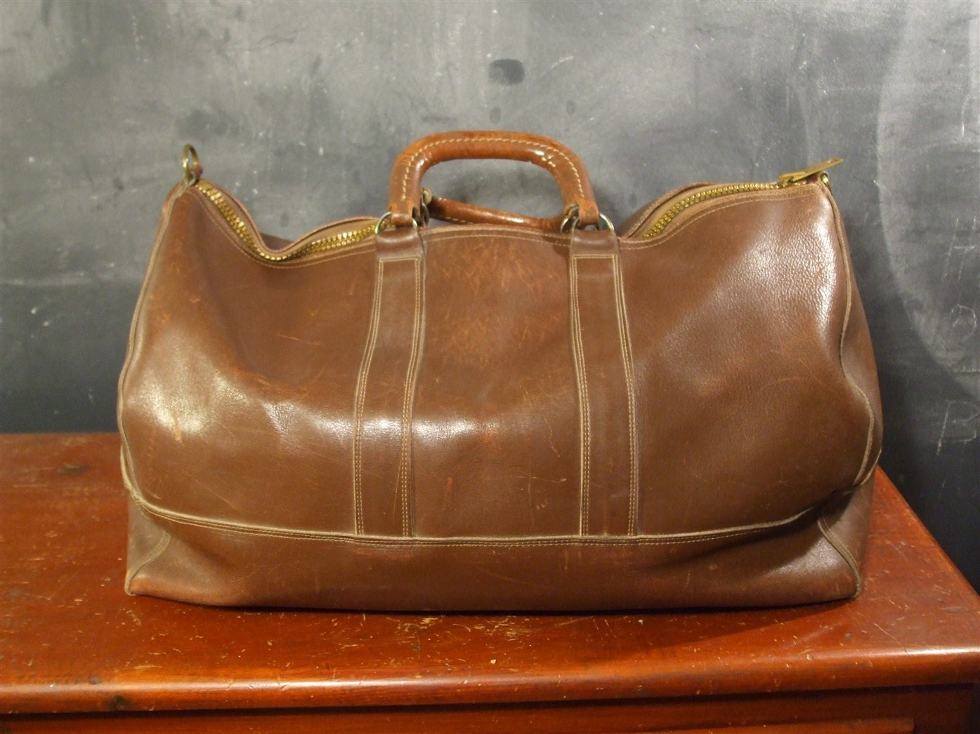 vintage ll bean leather duffle bag 1940s black label by