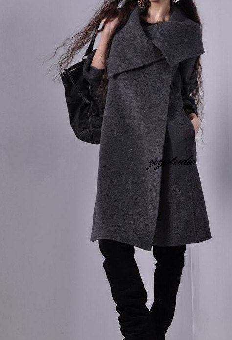 Smoke Gray Pure Cashmere Silk Satin Luxury Victorian Retro A-Line Coat