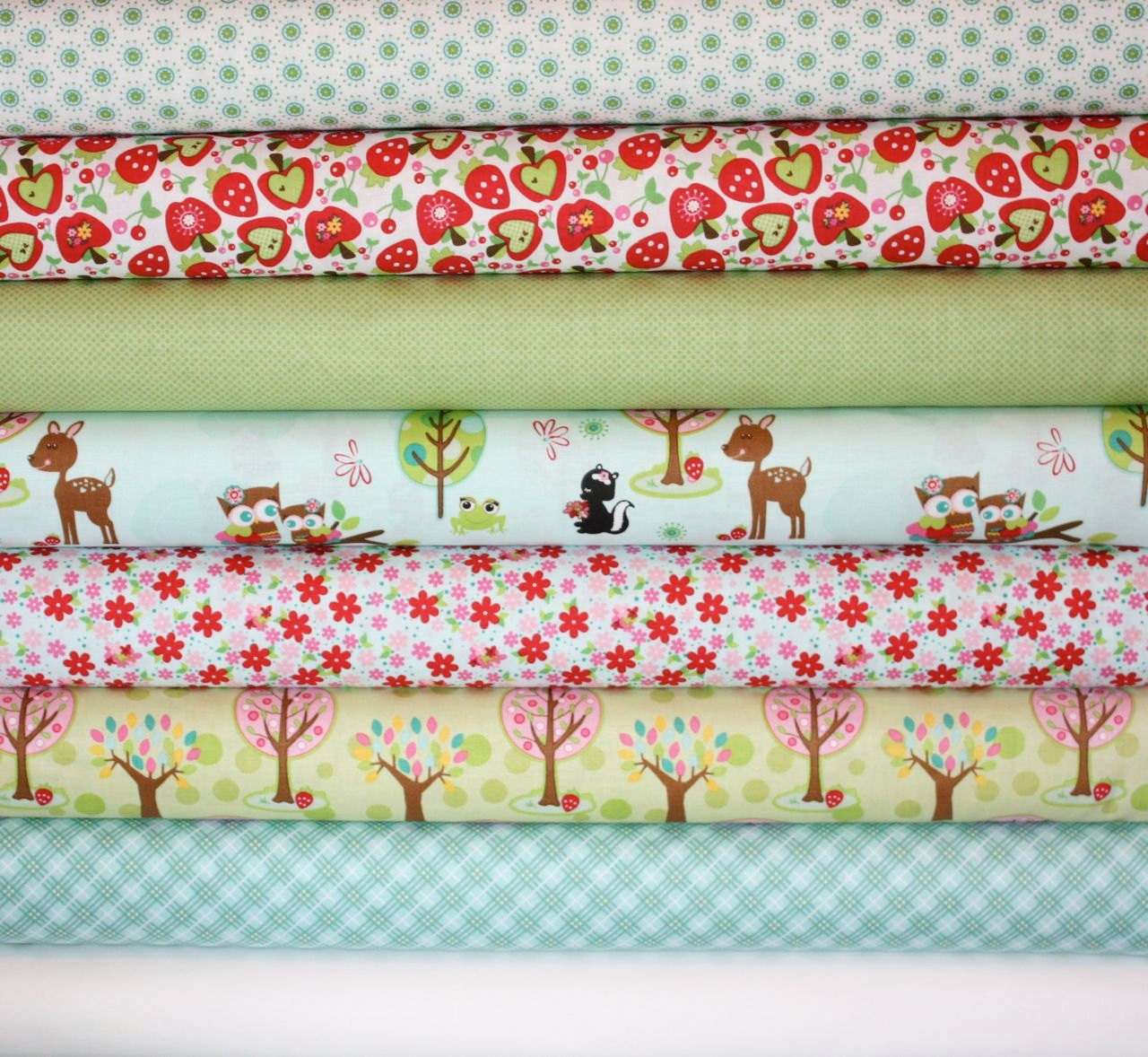 Hoo's in the Forest Fabric by Doohickey Designs for Riley Blake- Blue 1/2 Yard Bundle, 8 total