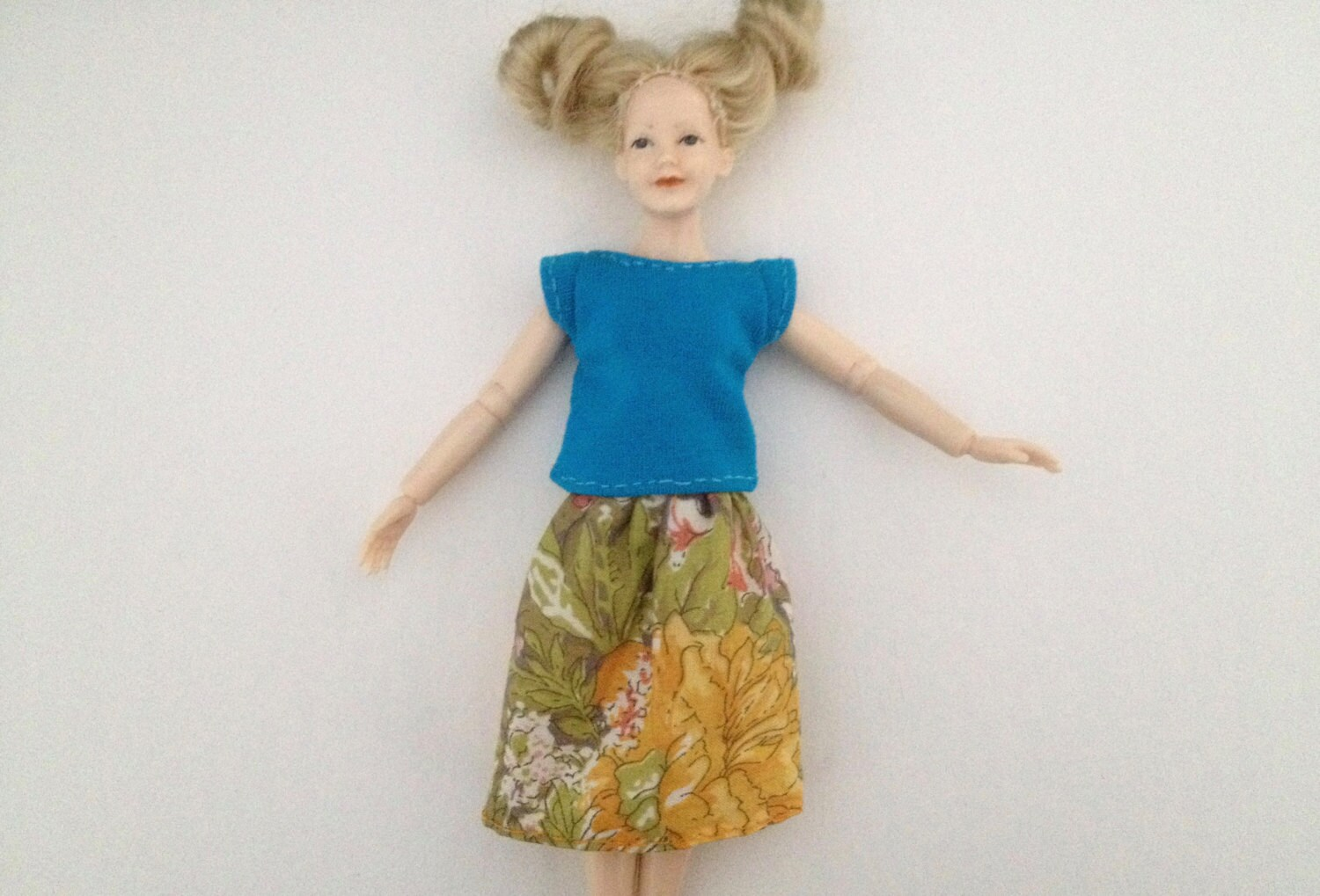 112 scale womens teal top with floral long skirt for Heidi dolls by Jings Creations