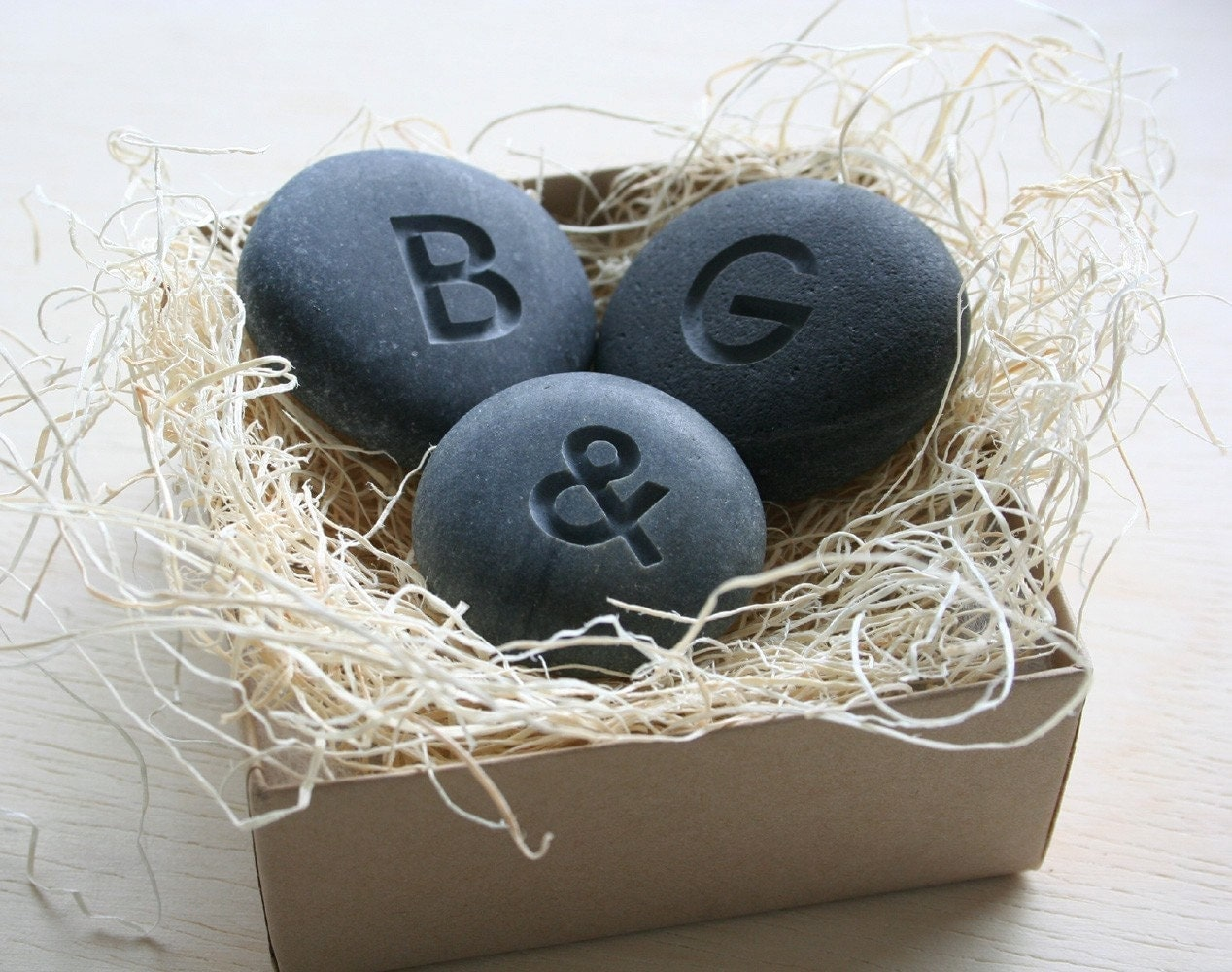 Petite love stones - set of 3 personalized initial pebbles by sjEngraving