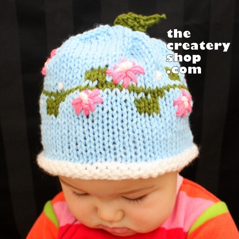 Knitting Pattern For Flowers On Hat : Knitting Pattern Spring Flowers Baby Hat PDF by createry on Etsy