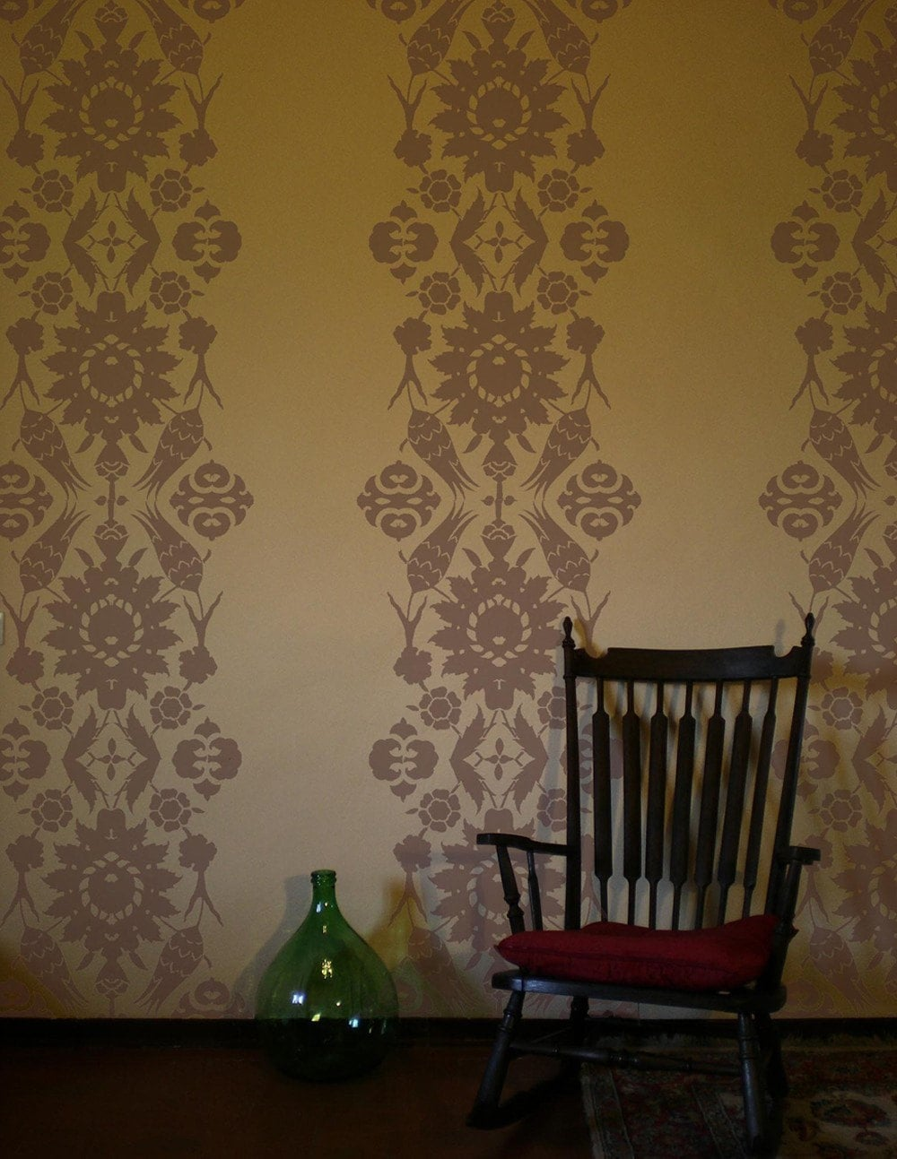 Damask wall stencil reusable ecologic
