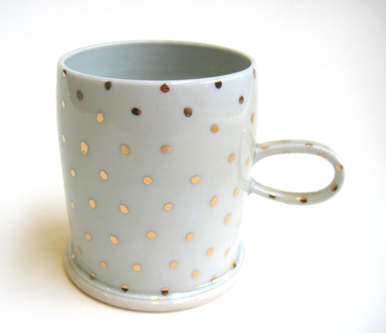 MADE TO ORDER Gold Polka Dot Porcelain Mug White - SilverLiningCeramics