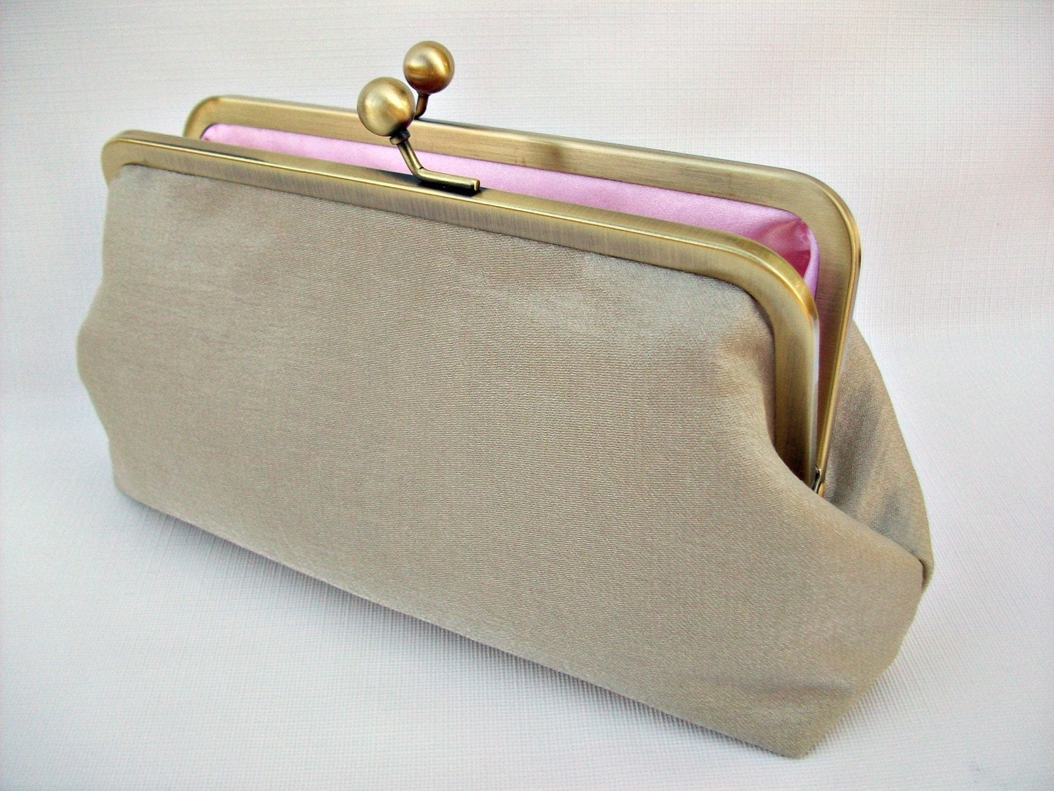 Bronze Gold and Pink Clutch Purse for Wedding