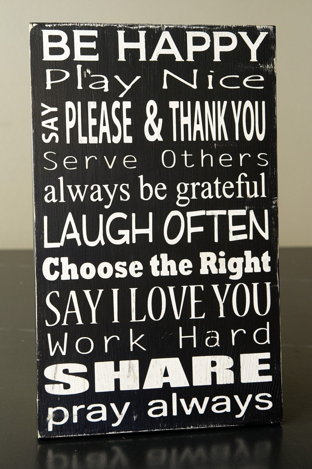 Family Rules Subway Art Sign-Solid Wood